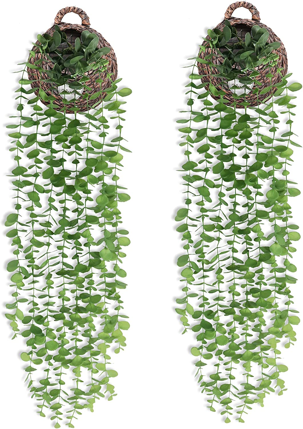 2 Pack Fake Hanging Plants Eucalyptus Garland Artificial Greenery Vines for Room Garden Home Wall Indoor Outdoor Decor (Basket Not Included)