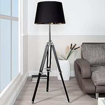 Design Stehlampe SYLT Hhenverstellbar Schwarz Lampe Stehleuchte Wohnzimmerlampe Chrom