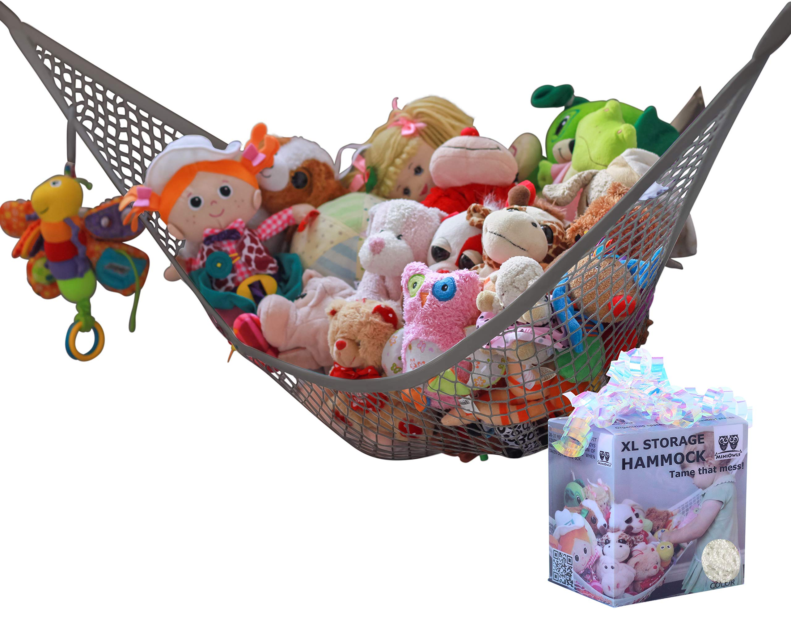 MiniOwls Storage Hammock Stuffed Toy Net (Gray XL) by MiniOwls