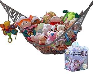MiniOwls Storage Hammock Stuffed Toy Net (Gray XL)