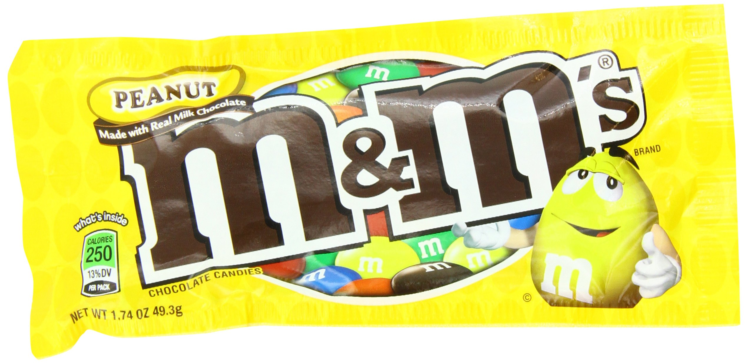M&Ms Peanut Chocolate Candy - Singles, 48-Count