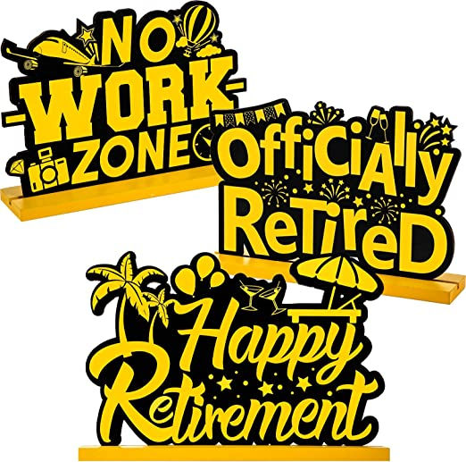 Amazon.com: Frienda Retirement Party Decorations Happy Retirement Table  Sign Officially Retired Table Centerpiece Black and Gold Sign Wooden  Retirement Gifts for Happy Retirement Party Supplies, 3 Pieces: Home &  Kitchen