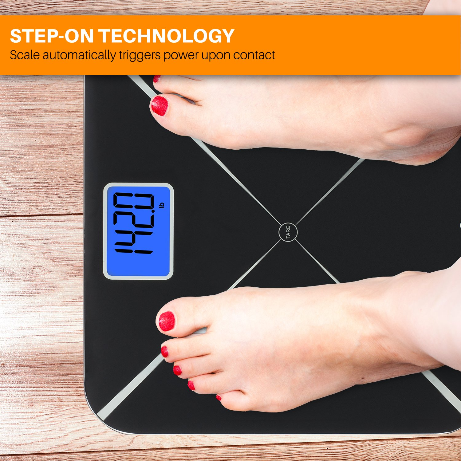 Smart Weigh Digital Body Weight Scale with Baby or Pet Tare Weighing Technology, Bathroom Scale with Large LCD Display and Tempered Glass Platform, 440lbs/200kg Capacity (Black) by Smart Weigh (Image #5)