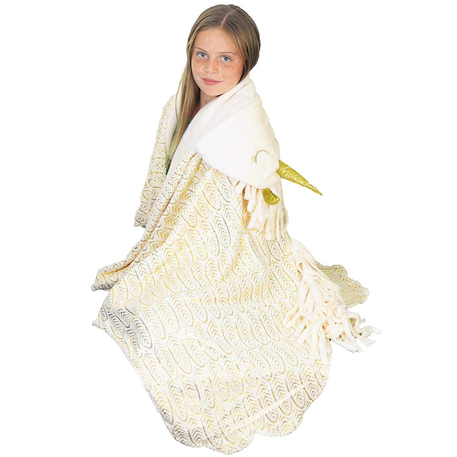 DreamsBe Hooded Unicorn Blanket for Girls - Kids Soft Plush Wearable Hoodie Bankets - Comfortable Animal Hood Throw Wrap with Shimmering Horn and Gold Foil Design for Pretend Play or Sleep