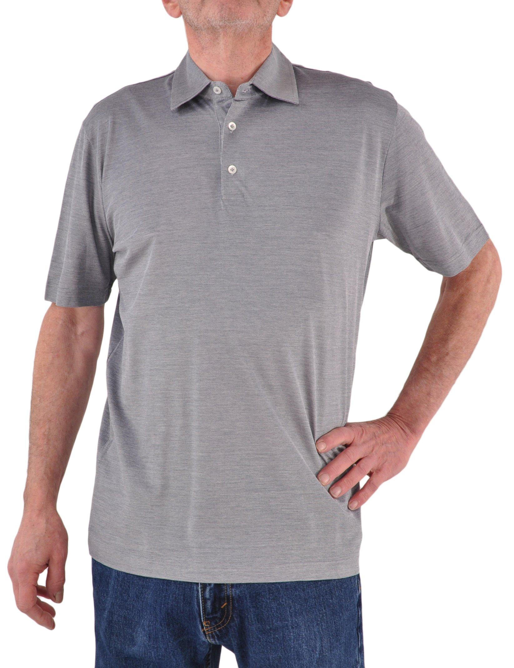 Zimmerli of Switzerland Exclusive Cotton & Silk Polo Shirt - Summer Navy XXX-Large