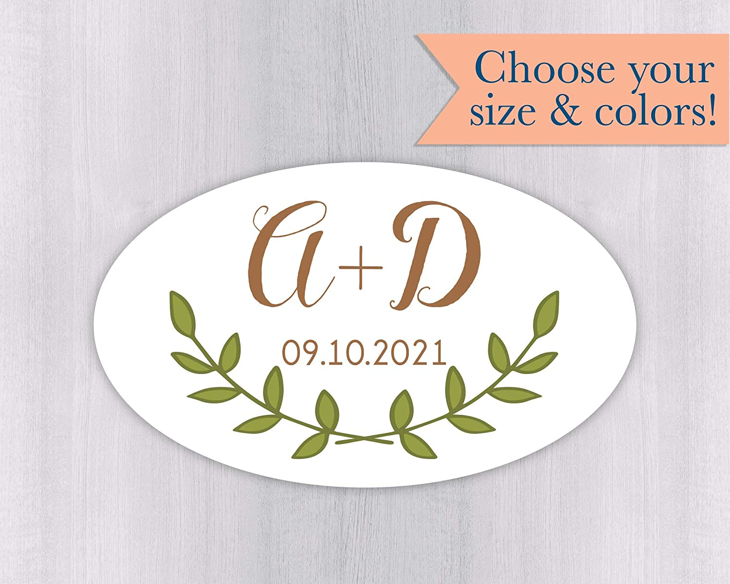 503edecf37d1 Amazon.com: Oval Initials and Date Wedding Stickers, Personalized ...