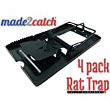 made2catch Classic Metal Rat Traps Fully Burnished - 4 traps - Powerful Snap Trap for Rats, Chipmunks and Rodents - Humane Rat Traps that Work