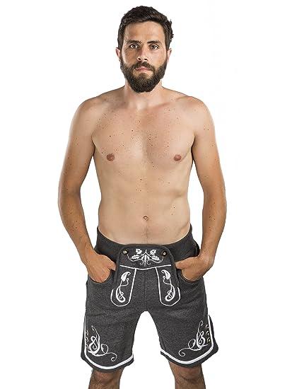 2c847dd019afc6 Herren Adam Jogging Lederhose - Jogginghose Sporthose bestickt -  Trachtenhose Oktoberfest - Schöneberger Fitness Trachtenlederhose (