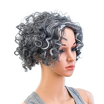 Amazon.com   SWACC 12-Inch Old Lady Cosplay Wig Short Silver Gray  Grandmother Curly Wigs for Women and Kids with Wig Cap   Beauty 31e4b17e21