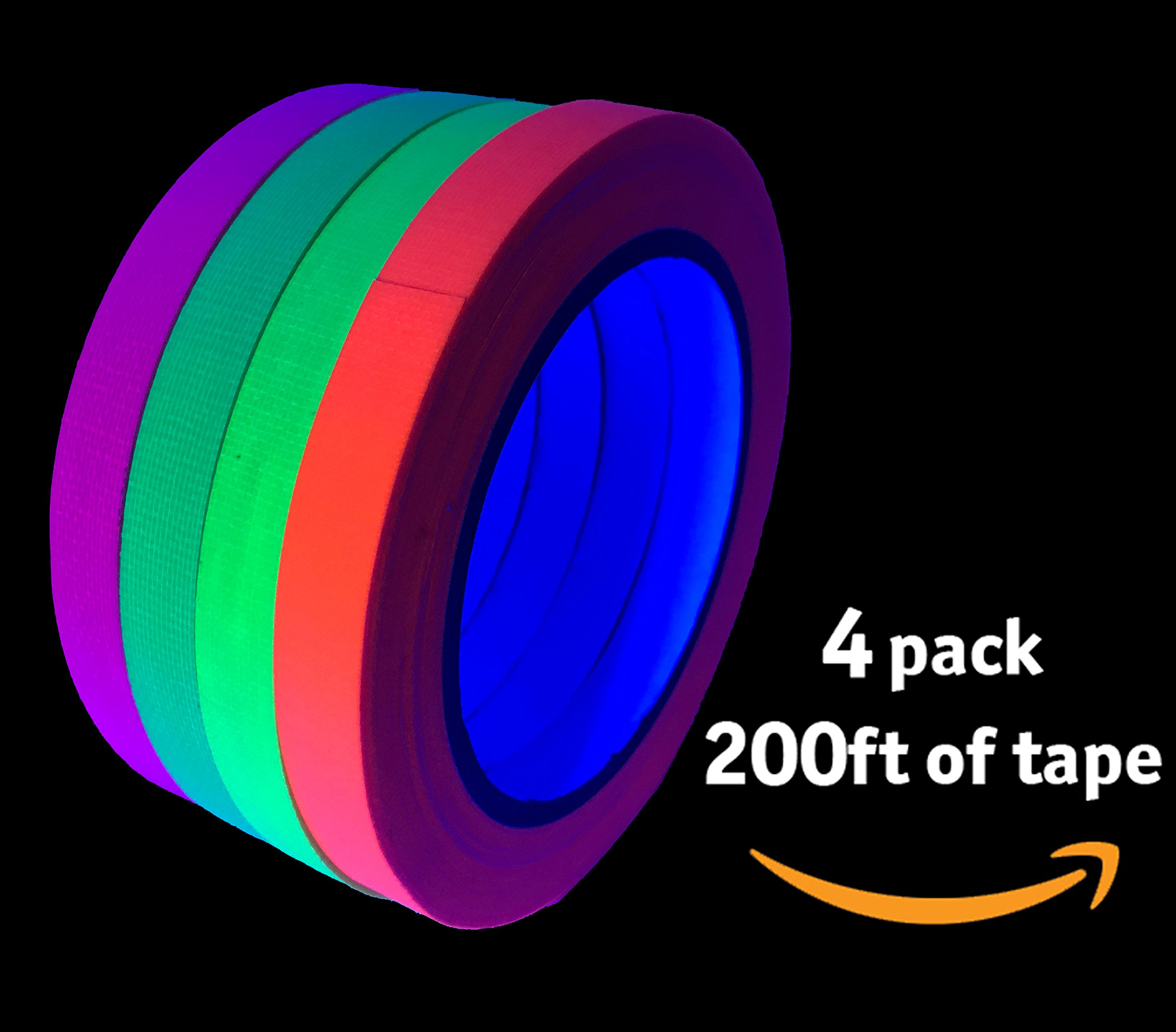 Glow Party UV Blacklight Reactive 200 ft. total - GREAT VALUE - Fluorescent Neon Tape 1/2 in x 50 ft - (4 Pack - Pink, Green, Yellow, Orange - Matte Finish)