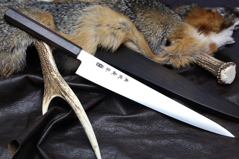 Yoshihiro Inox Honyaki Stain Resistant Steel Wa Sujihiki Slicer knife Shitan Handle with Nuri Saya Cover (10.5 IN)