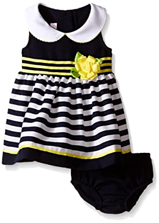 549d3f3fc4500 Girls Navy   White Striped Nautical Easter Dress   Pants Peter Pan Collar 3- 6. Roll over image to zoom in. Bonnie Baby Bonnie Jean