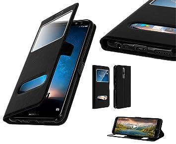 Hidashopp – Carcasa Huawei Mate 9 Lite Mate 10 Pro Mate 10 Lite, Funda Flip Cover Ventana Doble, Ultra Fina Funda de protección