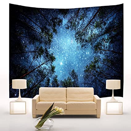 Merveilleux Forest Starry Tapestry Wall Hanging 3D Forest Tree Tapestry Night Stars Sky Wall  Tapestry Mandala Bohemian