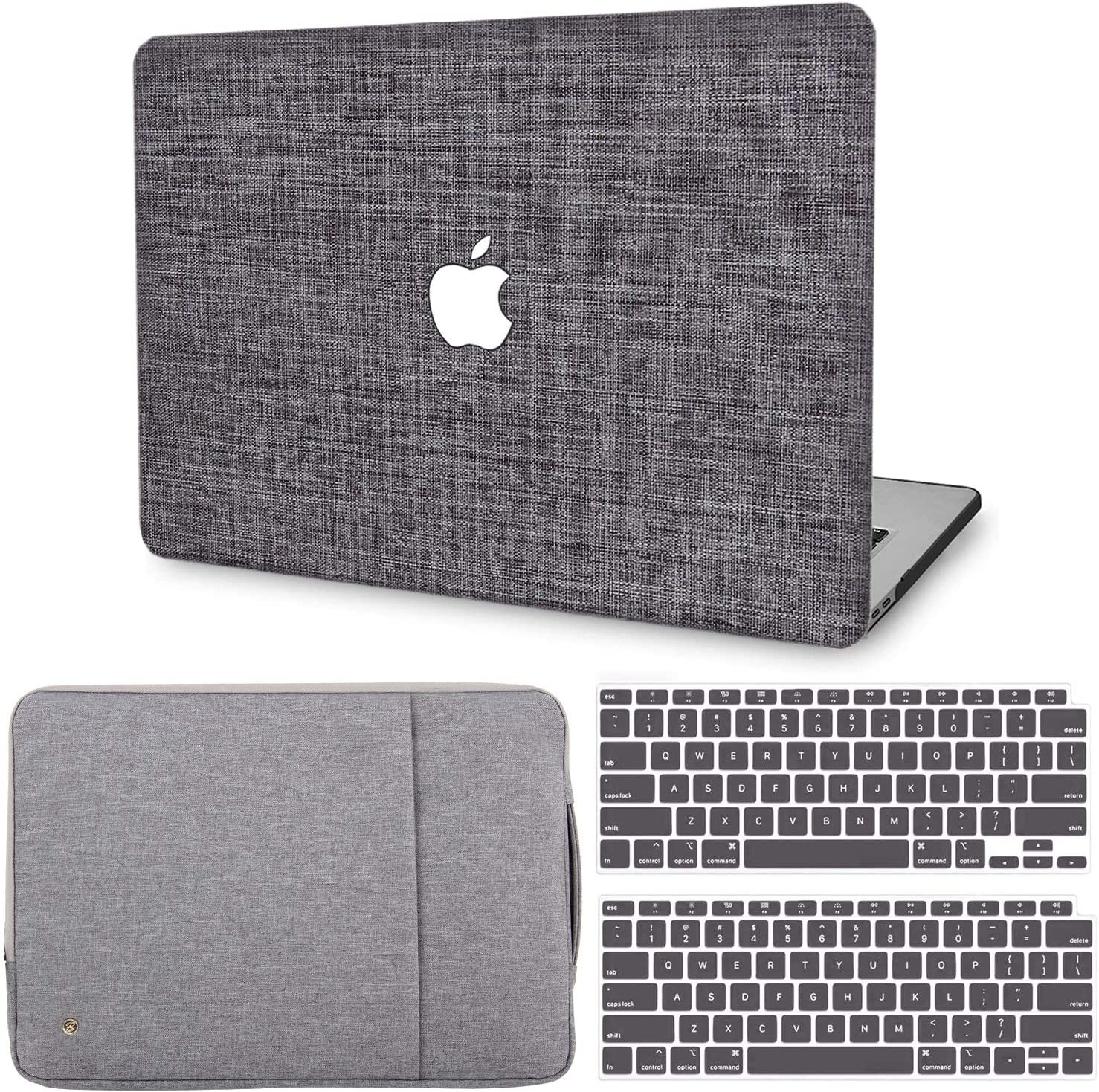 MacBook Air 13 Inch Case 2020 2019 2018 Release M1 A2337 A2179 A1932, G JGOO MacBook Air 2020 Case Touch ID, Fabric Hard Shell Case + Laptop Sleeve + Keyboard Cover Compatible with Mac Air 13 Retina