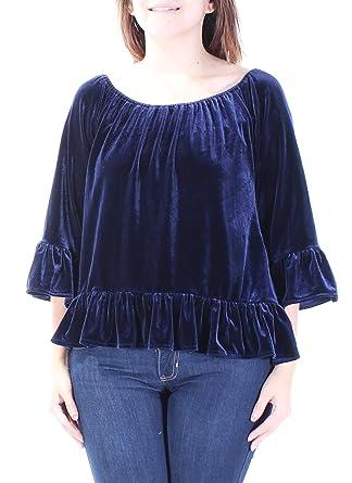 c2c00b17217d8 Sanctuary Clothing Womens Julia Velvet Pullover Blouse Blue S at Amazon  Women s Clothing store