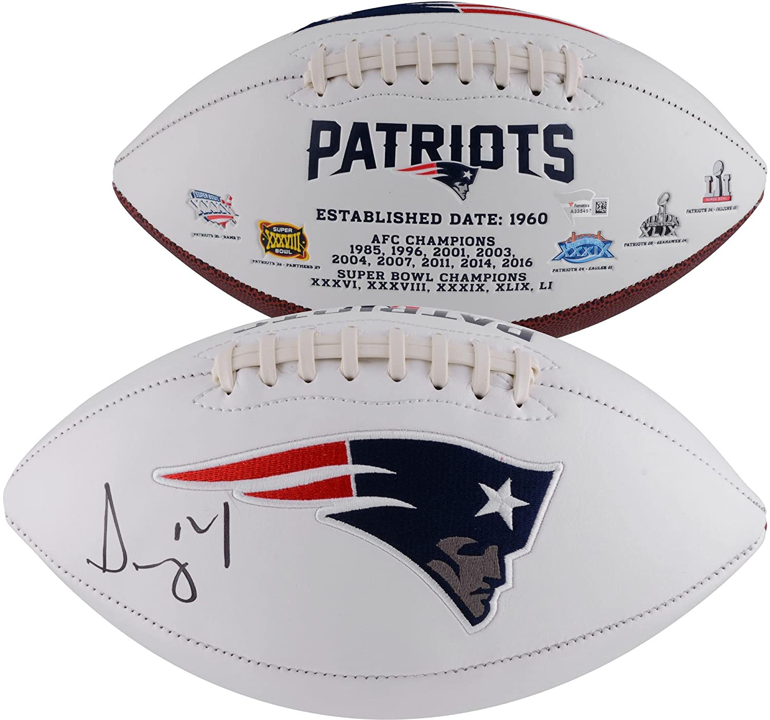 Sony Michel New England Patriots Autographed White Panel Football - Fanatics Authentic Certified - Autographed Footballs