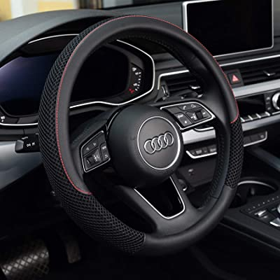 KAFEEK Steering Wheel Cover, Universal 15 inch, Microfiber Leather Viscose, Breathable, Anti-Slip,Warm in Winter and Cool in Summer, Black: Automotive