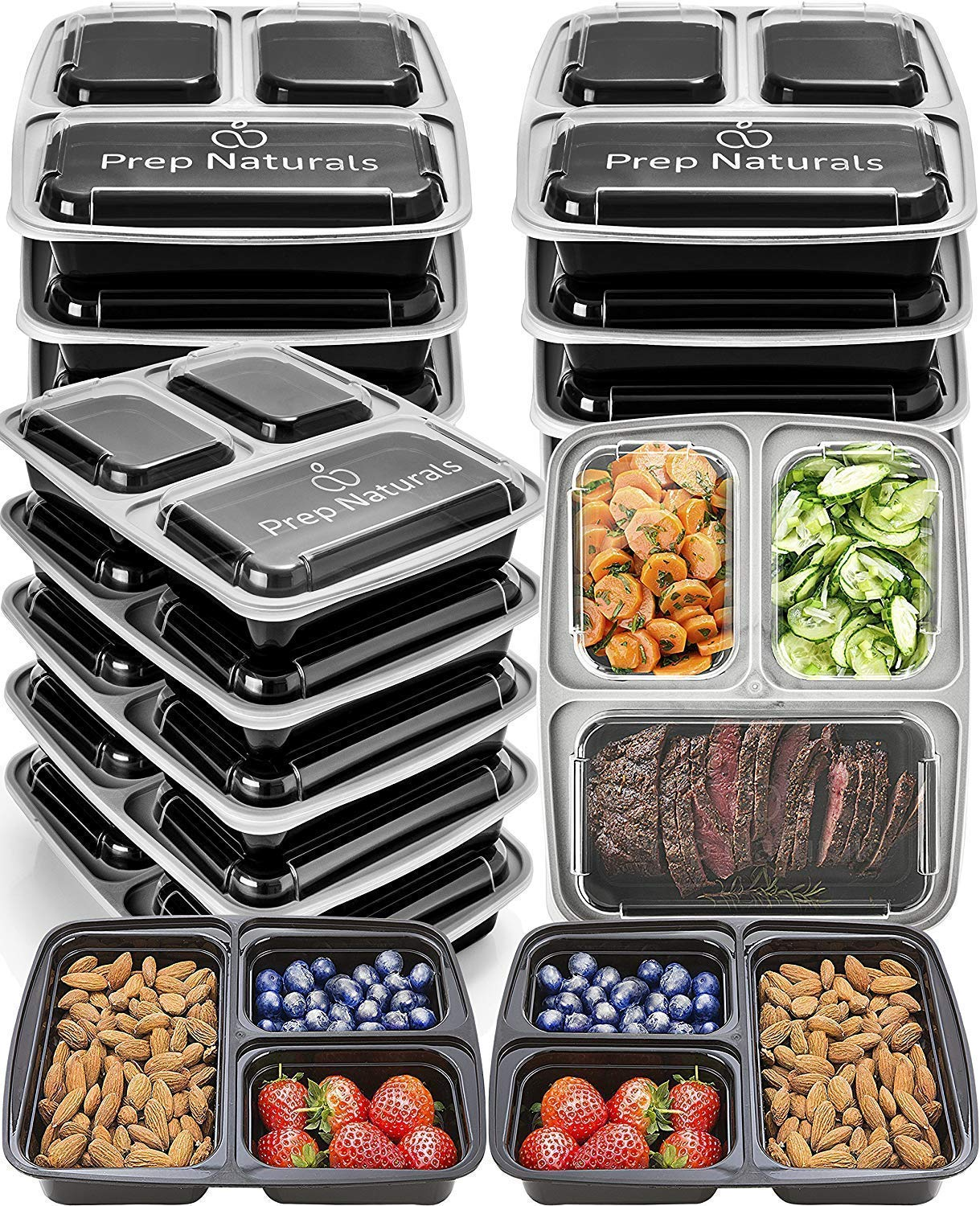 Meal Prep Containers 3 Compartment [15 pack, 32oz] - Bento Box Food Containers BPA Free Bento Boxes For Adults Lunch Containers - Plastic Containers with Lids Food Storage Containers with Lids by Prep Naturals (Image #1)