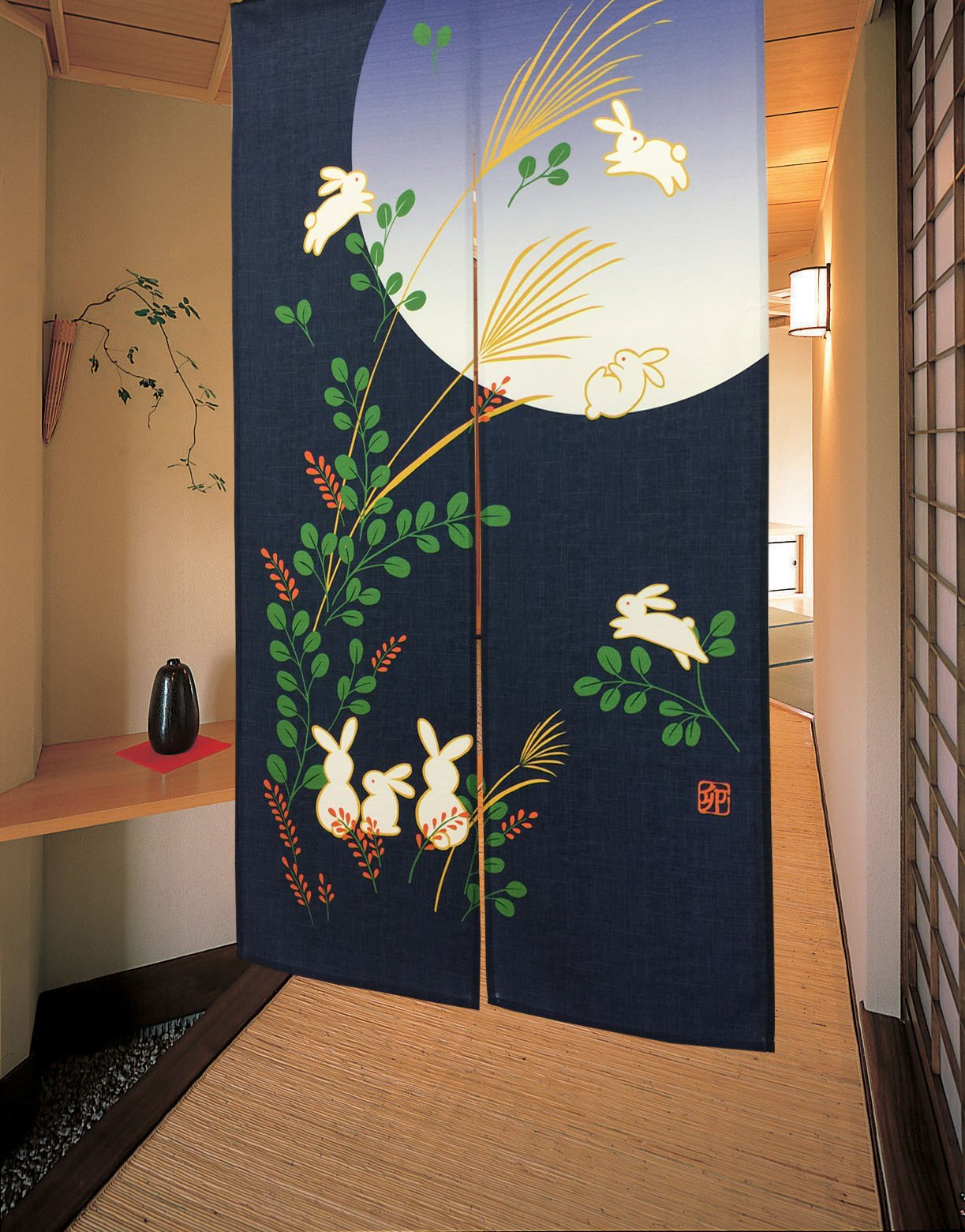 LifEast Japanese Noren Cute Running Rabbits Under Full Moon Kawaii Door Curtain (blue) by LifEast