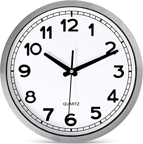 Bernhard Products Wall Clock Silent Non-Ticking Large 12″ Silver Metal Frame Quartz Battery Operated Easy to Read Office Classroom Kitchen Living Room Bathroom Sweeping Clock