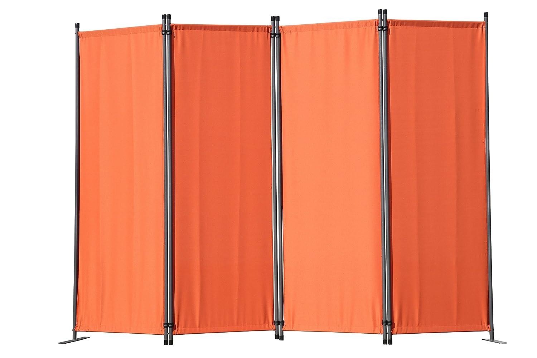 Angel Living 5870410 Paravant,Sichtschutz,4 Fach Faltbar,Gartenwand, Seitenmarkiese aus Stahl und Polyester,Folding Screen Room Divider Privacy Screen (225x165cm, Terrakotta)