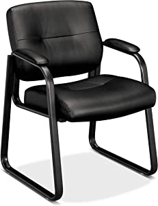 HON Client Sled Base Guest Chair - Leather Reception Chair, Black (HVL693)
