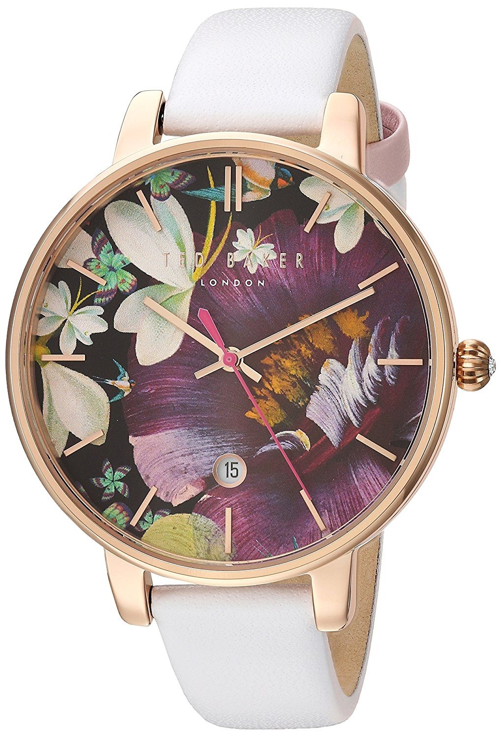 Ted Baker Women's 'KATE' Quartz Stainless Steel and Leather Dress Watch, Color:White (Model: 10031547)