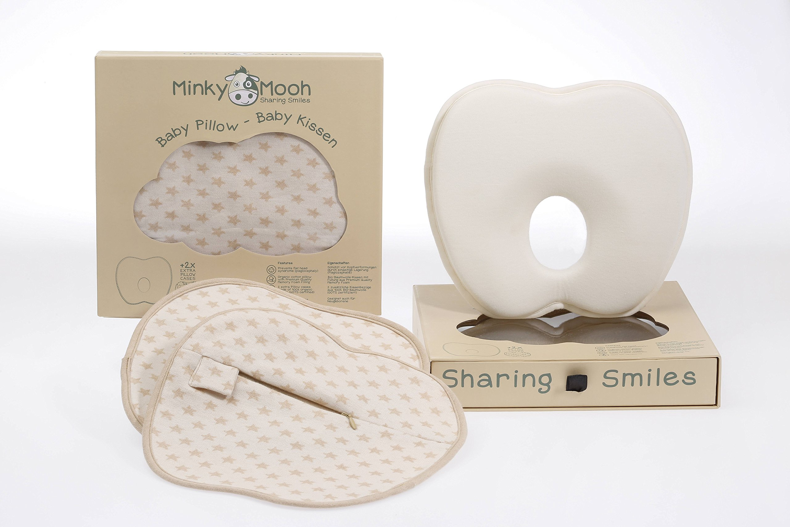 Baby Pillow Set to Prevent Flat Head - 2 Organic Cotton Cases | Reduces Plagiocephaly + Supports Newborn Natural Head Shape …
