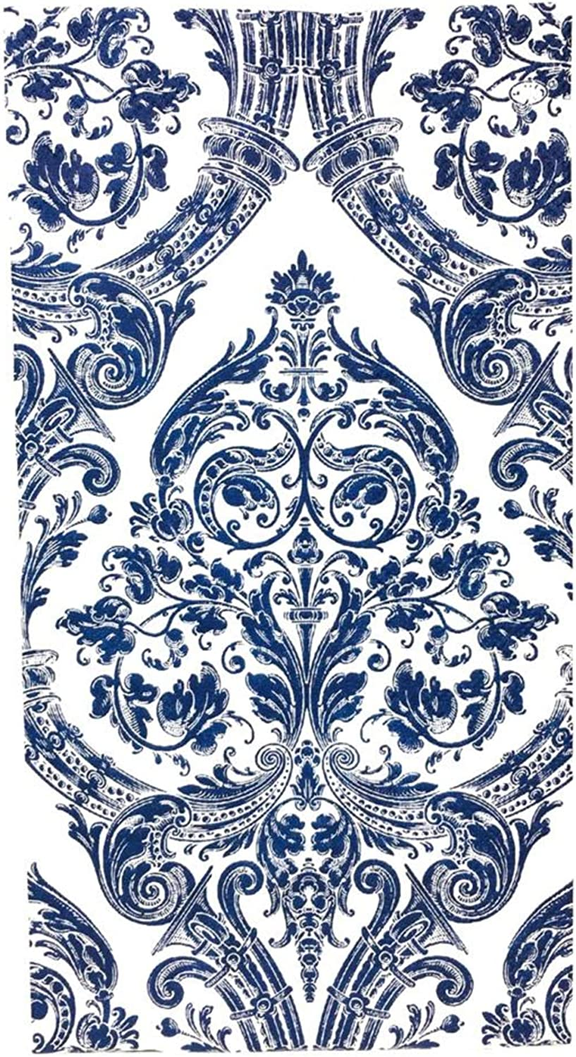 Ideal Home Range 32 Count 3-Ply Paper Guest Towel Dinner Buffet Napkins, Damask White Blue