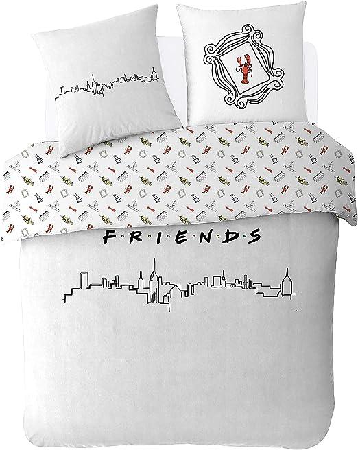 Friends Juego de sábanas de algodón con diseño, Blanco, 200 x 200 cm: Amazon.es: Hogar