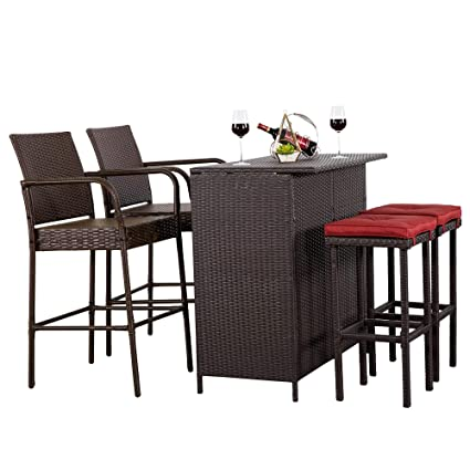 Cloud Mountain 5 PC Patio Bar Set Outdoor Wicker Rattan Bar Stool Dining Sets  Patio Furniture - Amazon.com: Cloud Mountain 5 PC Patio Bar Set Outdoor Wicker Rattan