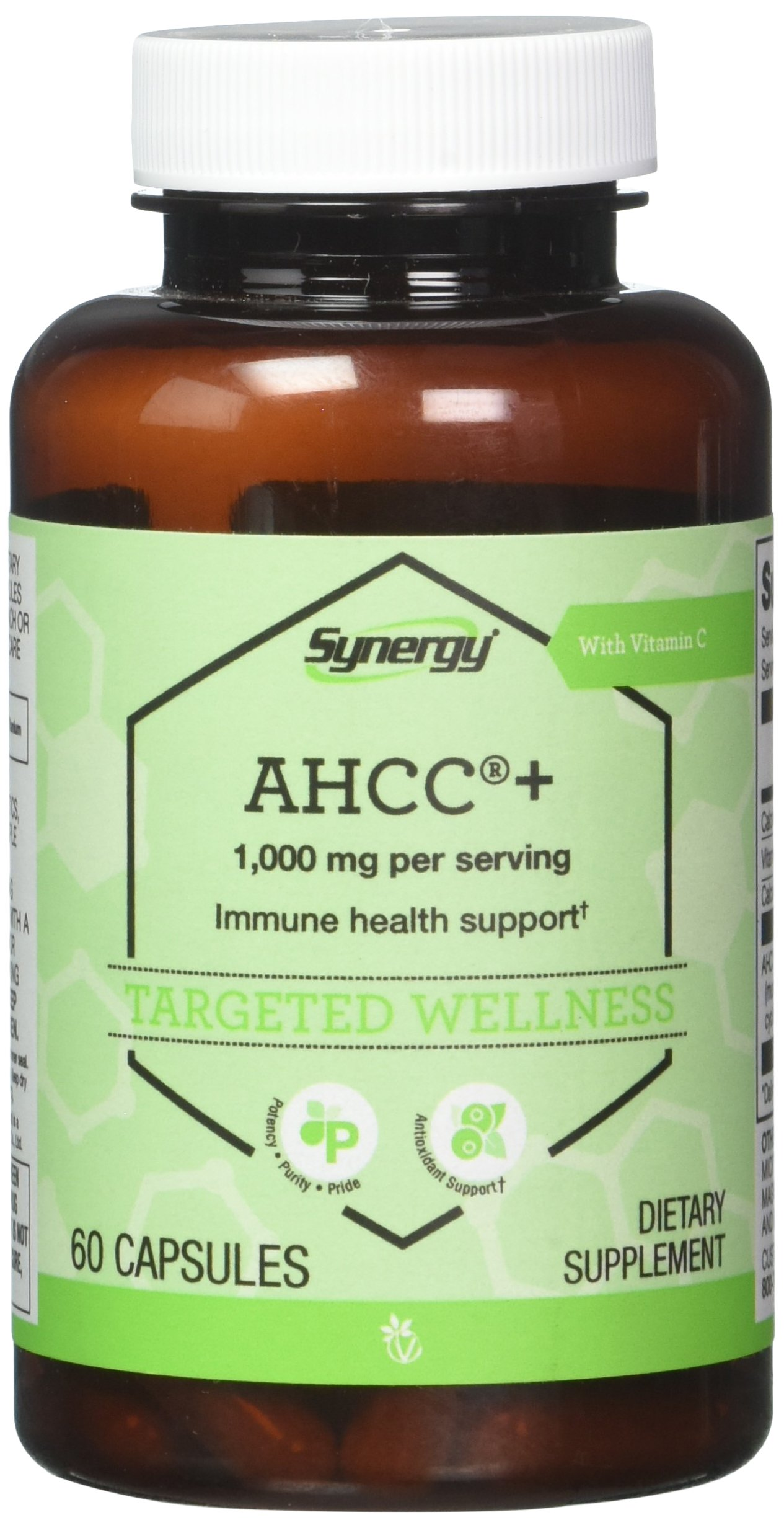 Vitacost Synergy AHCC® + with Vitamin C -- 1000 mg per serving - 60 Capsules