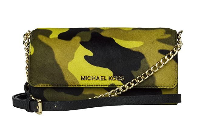 04eb100a2b7be8 Image Unavailable. Image not available for. Colour: Michael Kors Jet Set  Travel Printed Camo Haircalf Chain Wallet, Color 702 Acid Lemon