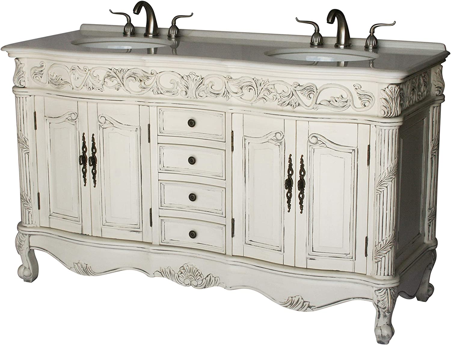 Amazon Com 60 Inch Antique Style Double Sink Bathroom Vanity Model 7660 B Kitchen Dining
