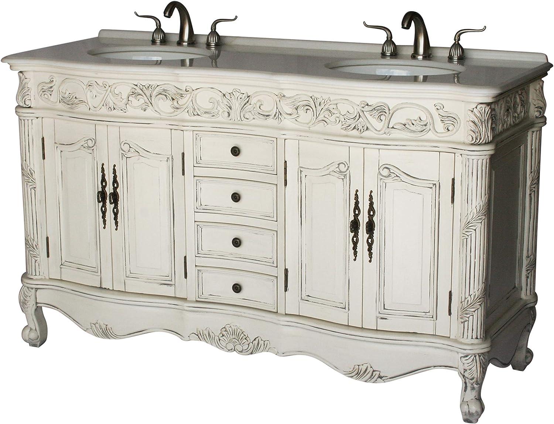 Amazon Com 60 Inch Antique Style Double Sink Bathroom Vanity Model 7660 B Kitchen Dining