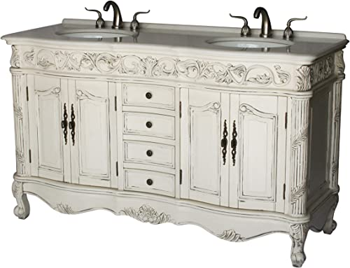 60-Inch Antique Style Double Sink Bathroom Vanity Model 7660-B