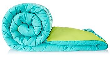 Amazon Brand - Solimo Microfibre Reversible Comforter, Single (Aqua Blue & Olive Green, 200 GSM)