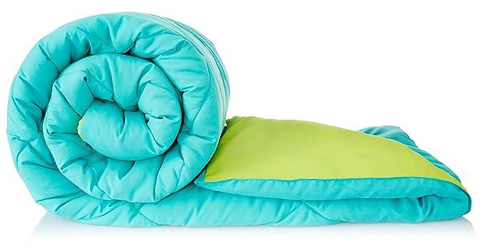 Amazon Brand - Solimo Microfiber Reversible Comforter, Double (Aqua Blue & Olive Green,…