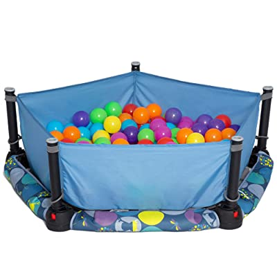 Eezy Peezy 3 in 1 Folding Ball Pit & Bouncer - Ball Pit Tent & Trampoline with Handle - Ages 10 Months to 5 Years: Toys & Games