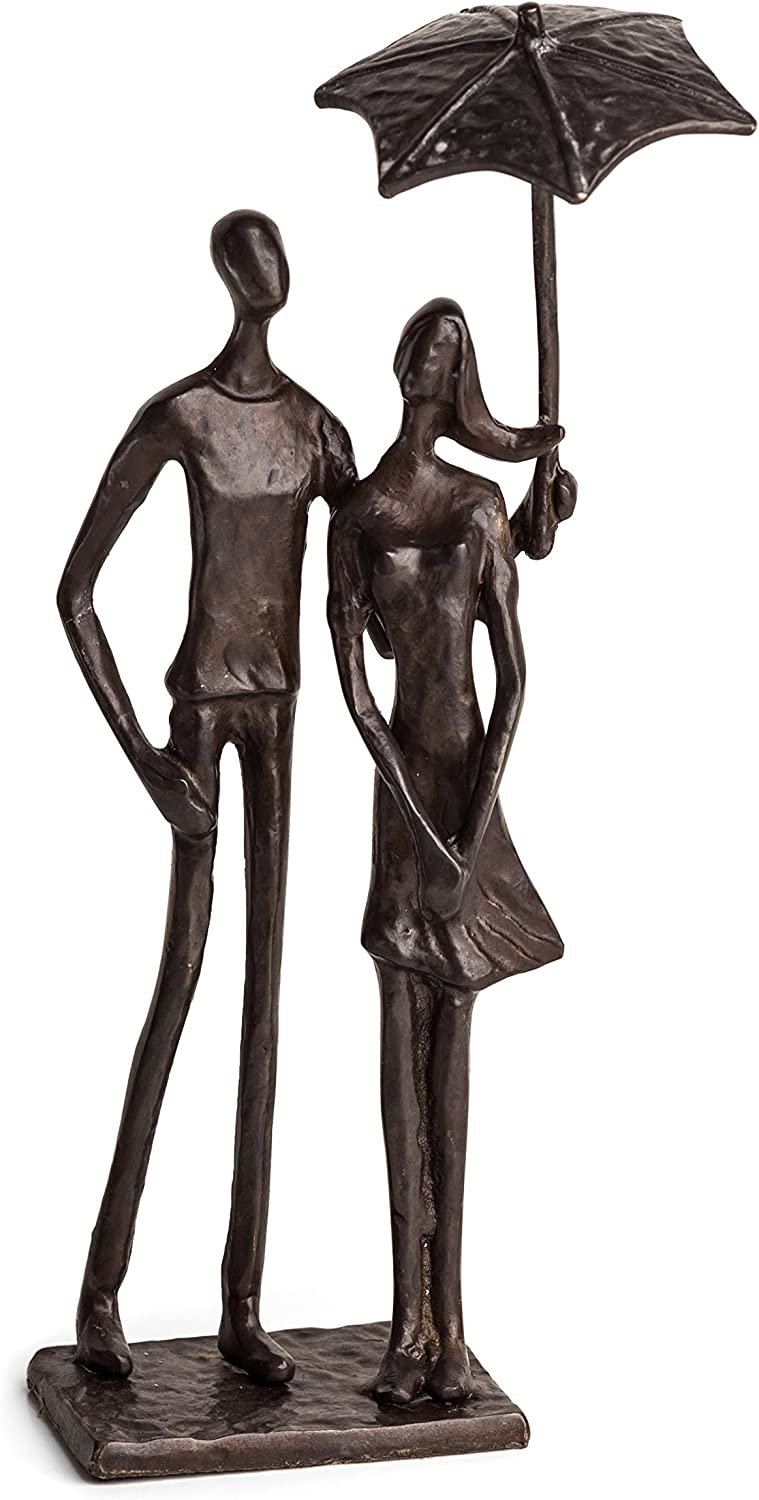 Danya B Loving Couple Under Umbrella Bronze Sculpture - Modern and Elegant Design – Metal Art - Contemporary Home and Office Décor – Modern Tabletop Décor