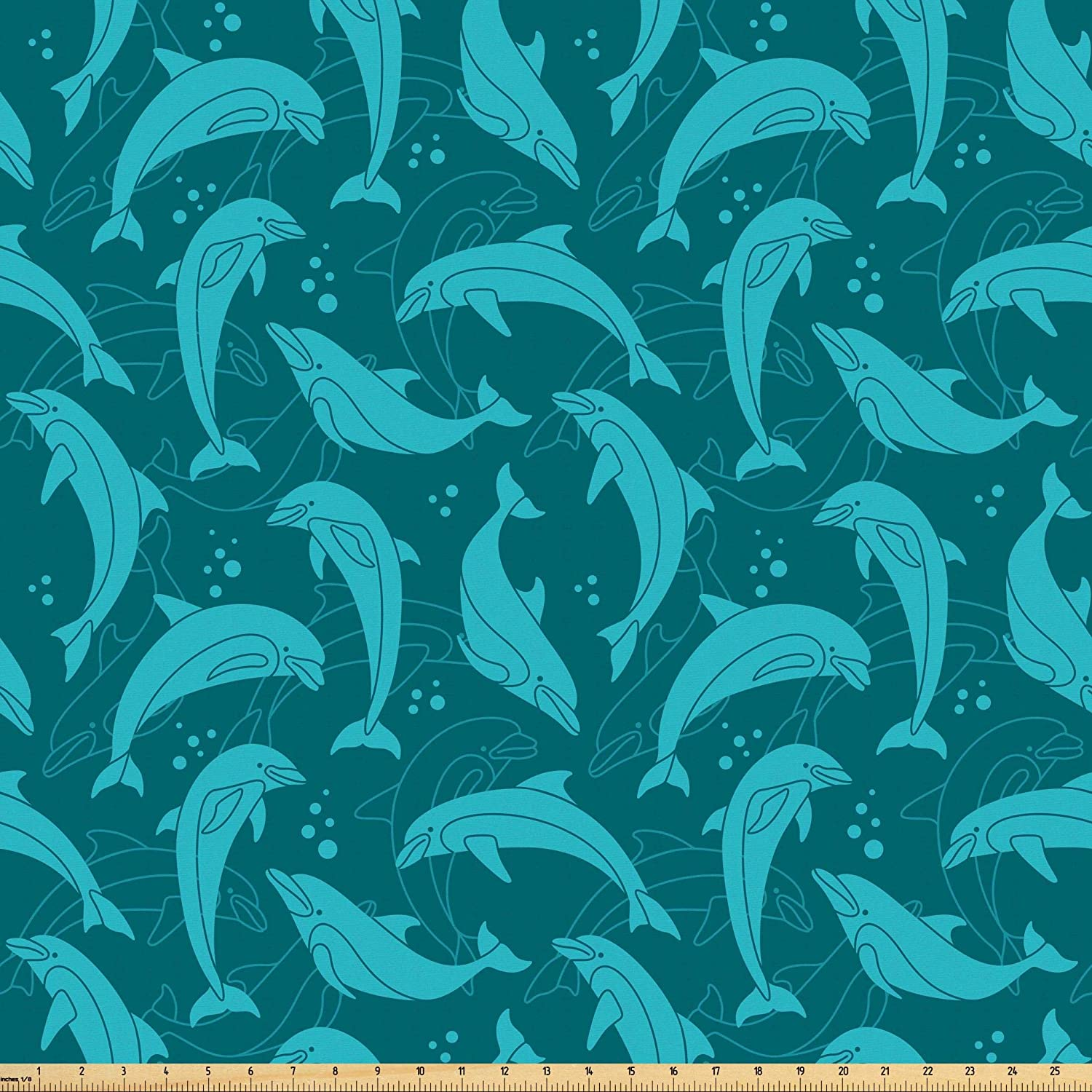 Lunarable Dolphin Fabric by The Yard, Cartoon Style Dolphins in Contrast Swimming in Deep Blue Water in Disorder, Microfiber Fabric for Arts and Crafts Textiles & Decor, 1 Yard, Blue Teal