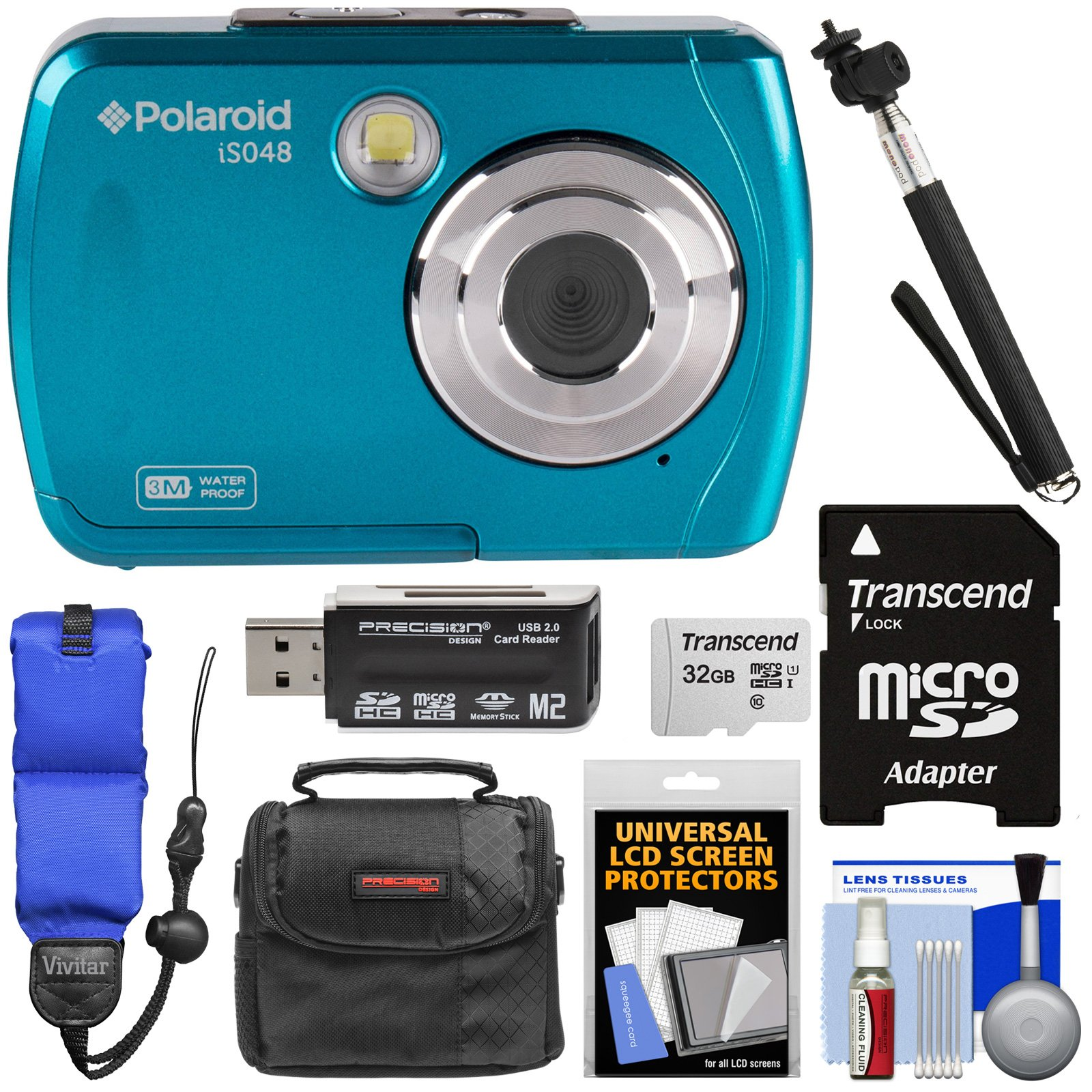 Polaroid iS048 Waterproof Digital Camera (Teal) with 32GB Card + Case + Selfie Stick + Float Strap + Kit by Polaroid