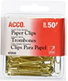 ACCO Gold Tone Jumbo Paper Clips, Smooth Finish, Steel Wire, 20 Sheet Capacity, 50 Clips / Box (A7072532)
