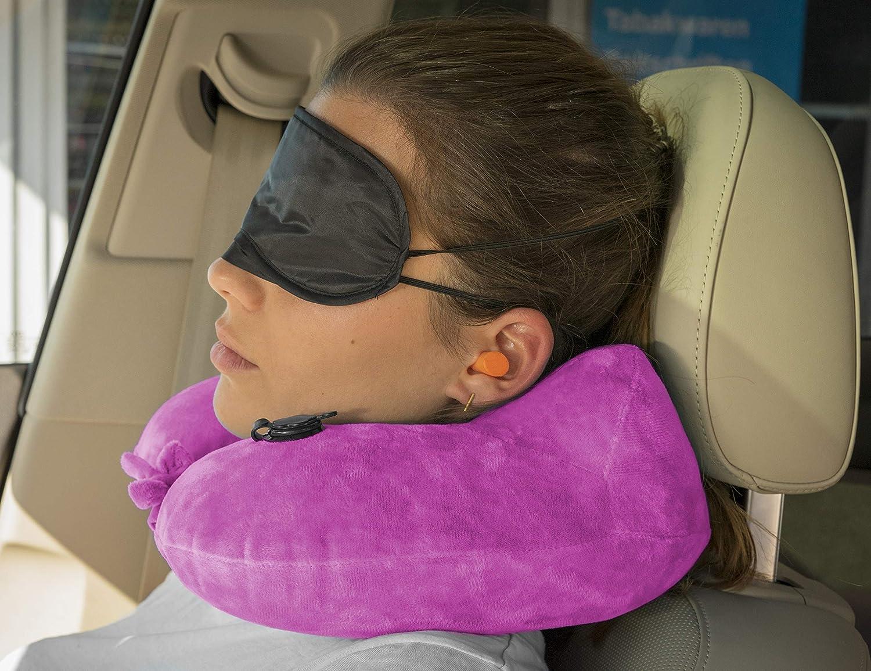 Azul Oscuro MyGadget Almohada de Viaje Inflable Almohada U Hinchable de Cuello para Viajes Antifaz para Dormir Ideal para Usar en Avion Coche Tren