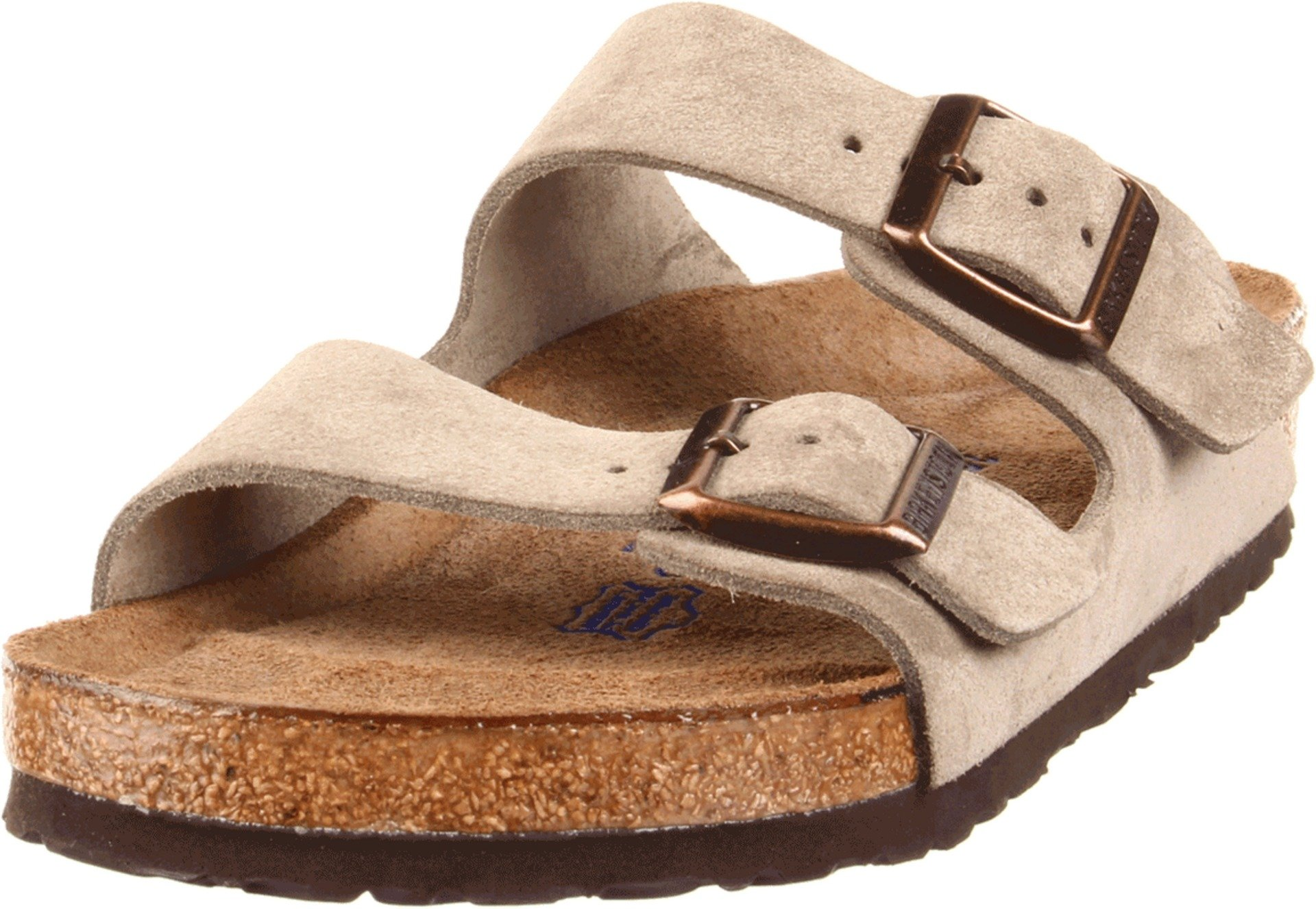 Birkenstock Unisex Arizona Taupe Suede Soft Foot Bed Sandals - 38 M EU / 7-7.5 B(M) US