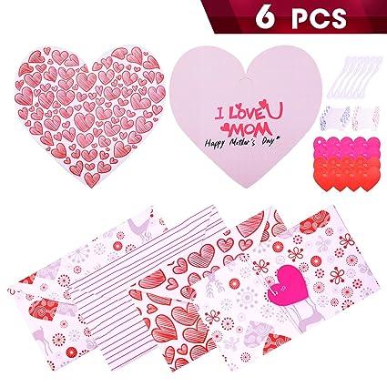 amazon com wxj13 6 pieces foldable heart shape mother s day