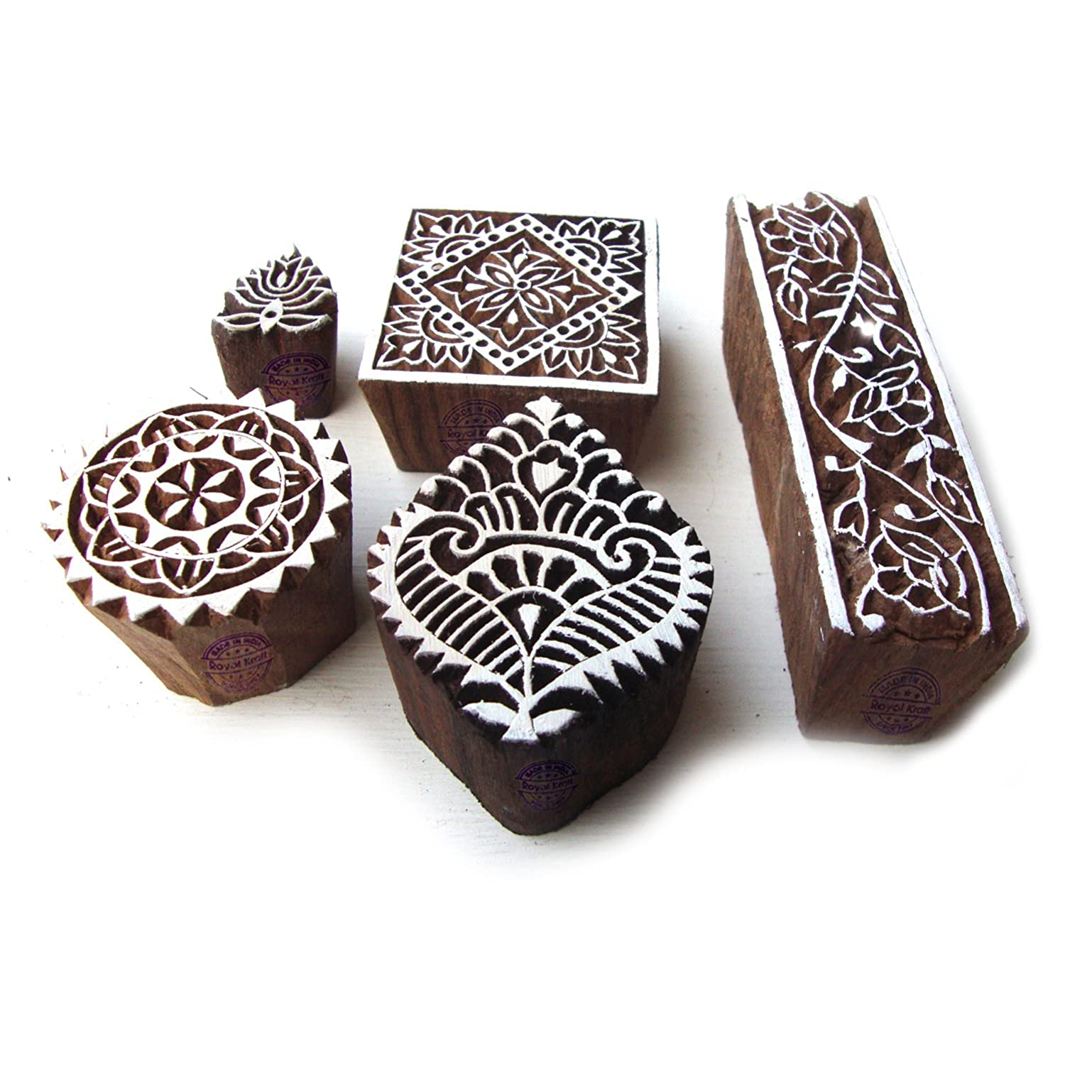 Hand Carved Square and Border Pattern Wood Block Print Stamps (Set of 5) Royal Kraft Htag0139
