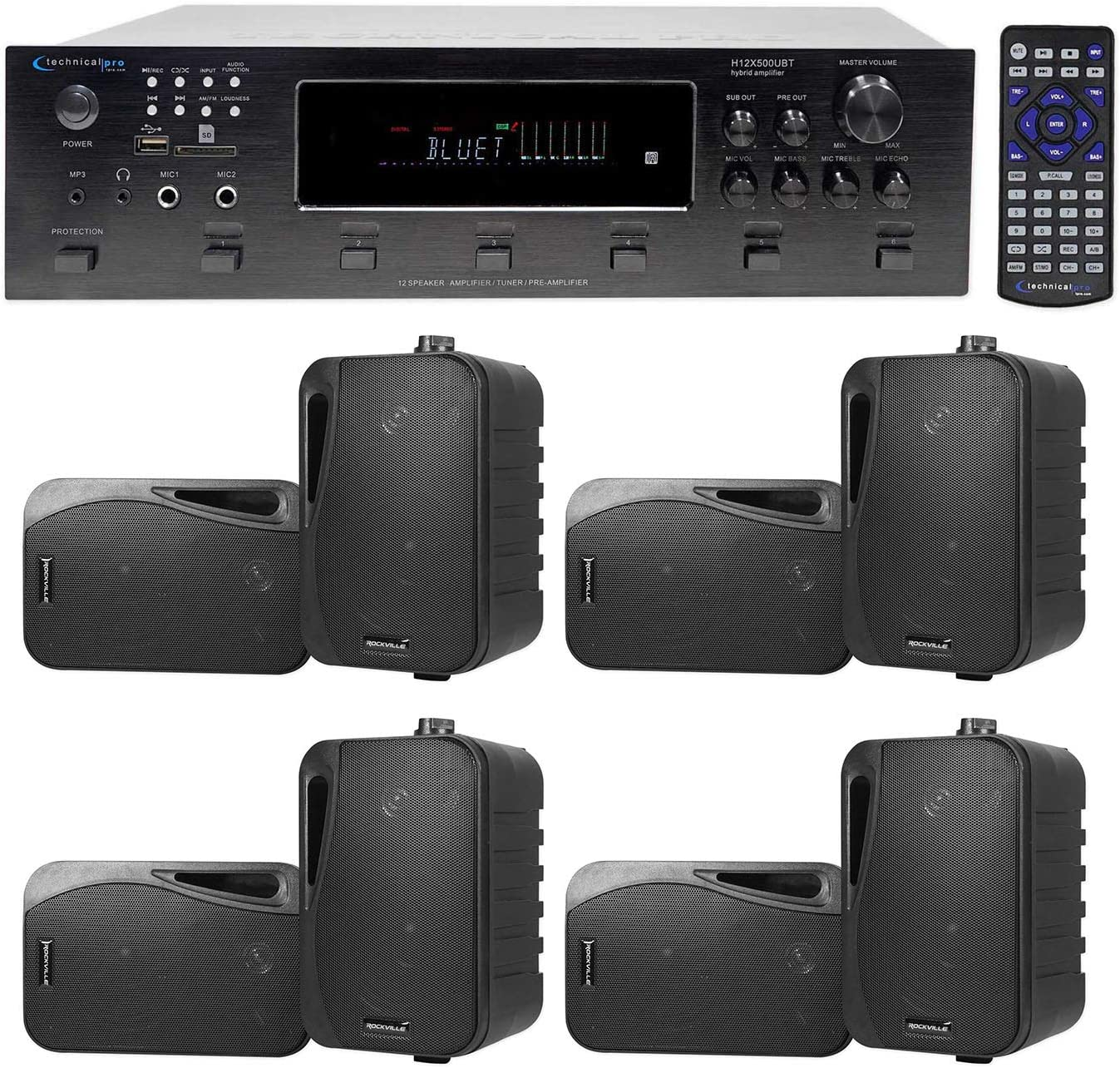 Technical Pro 6000w (6) Zone, Home Theater Bluetooth Receiver +(8) 4