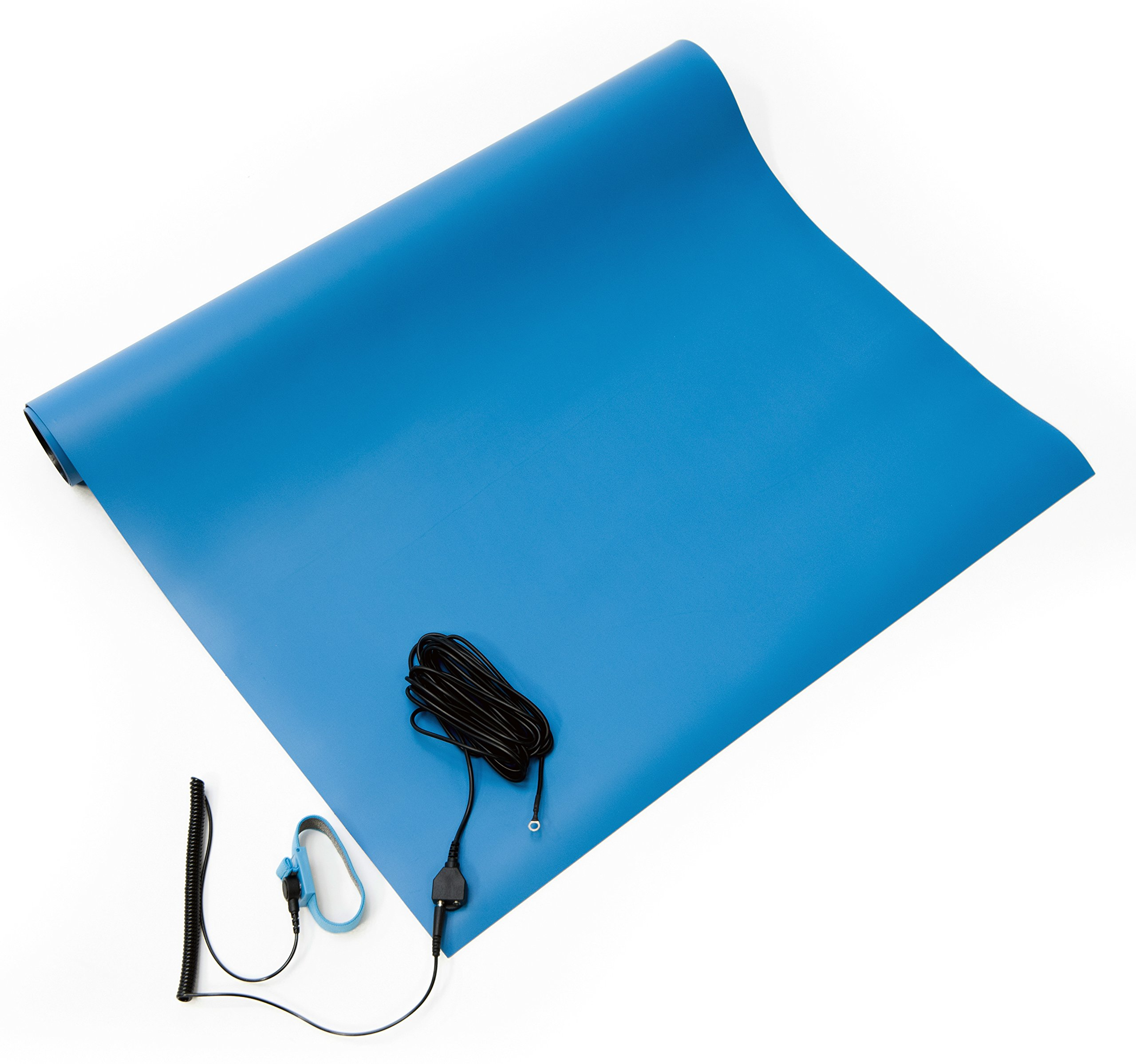Bertech ESD Two Layer Rubber Mat Kit with a Wrist Strap and a Grounding Cord, 18'' Wide x 24'' Long x 0.06'' Thick, Blue